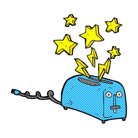 sparking: retro comic book style cartoon sparking toaster
