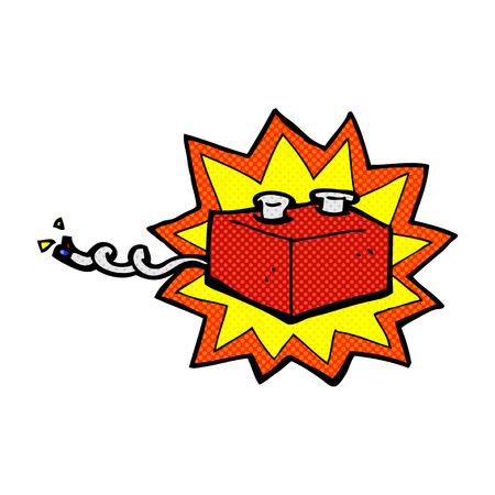 retro comic book style cartoon battery Illustration