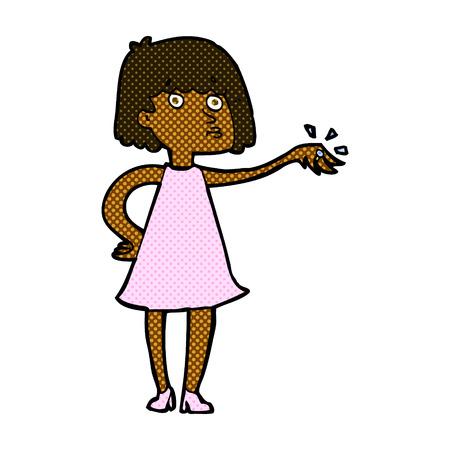 bague de fiancaille: r�tro femme de bande dessin�e de style de bande dessin�e montrant bague de fian�ailles