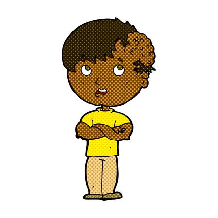 tumour: retro comic book style cartoon boy with growh on head Illustration