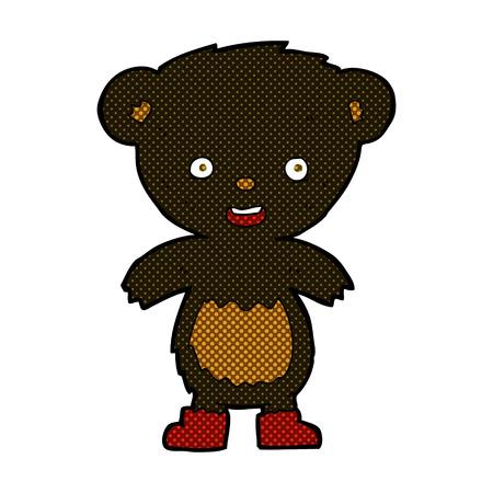 bear cub: retro comic book style cartoon black bear cub