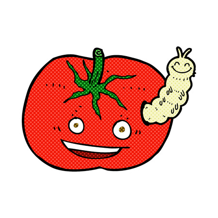 tomato caterpillar: retro comic book style cartoon tomato with bug