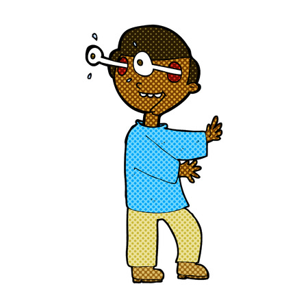 popping: retro comic book style cartoon boy with popping out eyes Illustration