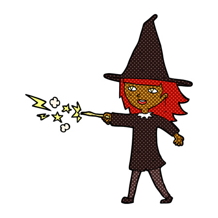casting: retro comic book style cartoon witch girl casting spell