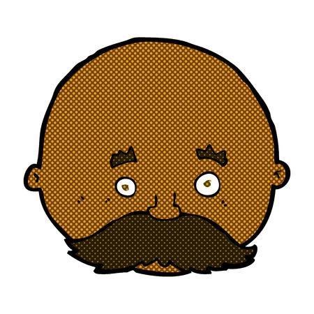 bald man: retro comic book style cartoon bald man with mustache Illustration