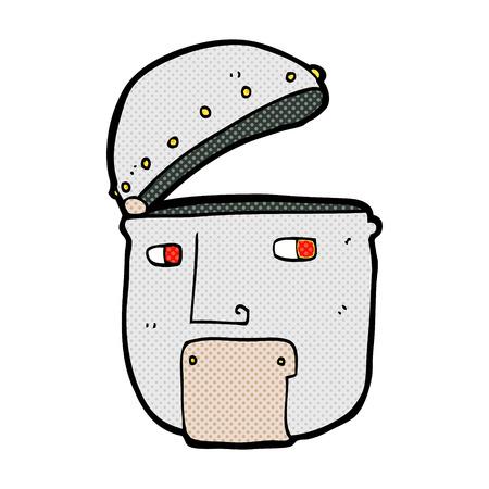robot head: retro comic book style cartoon robot head