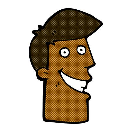 grinning: retro comic book style cartoon grinning man Illustration
