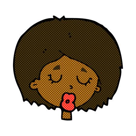geschlossene augen: Retro-Comic-Stil Cartoon Frau mit geschlossenen Augen
