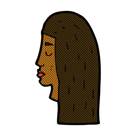 perfil de mujer rostro: de dibujos animados retro del estilo del c�mic perfil rostro femenino Vectores