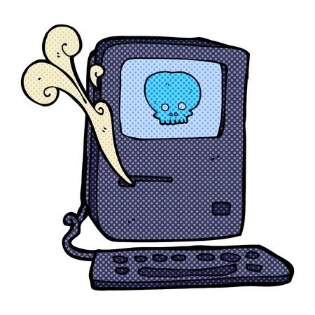 virus informatico: virus informático de dibujos animados retro del estilo del cómic