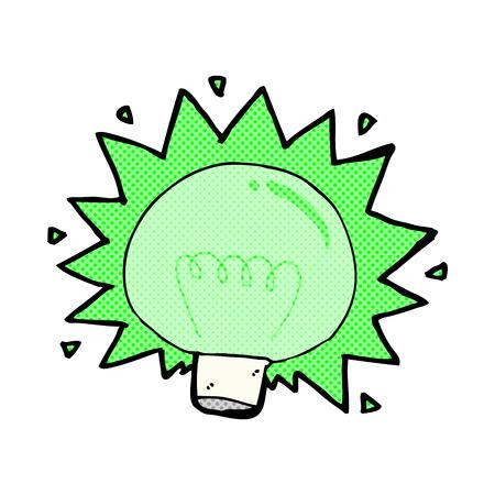 green light bulb: retro comic book style cartoon flashing green light bulb