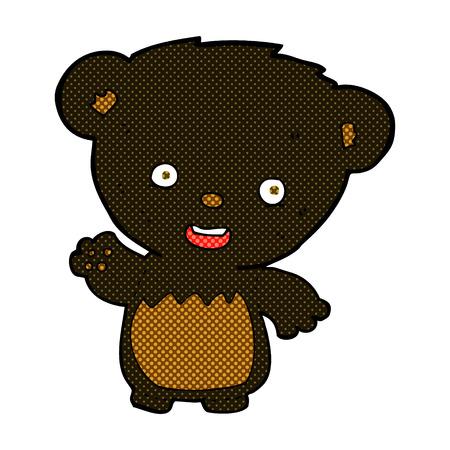 bear cub: retro comic book style cartoon black bear cub waving Illustration