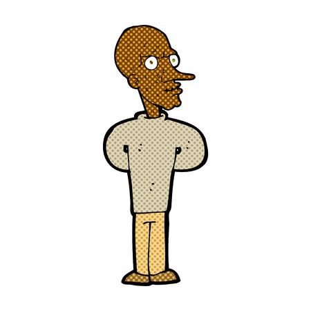 bald man: retro comic book style cartoon evil bald man