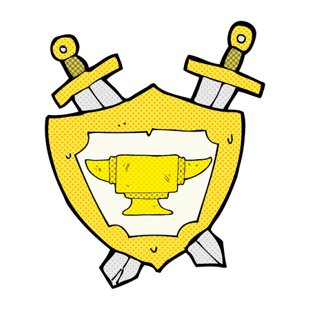 blacksmith: retro comic book style cartoon blacksmith anvil heraldry symbol