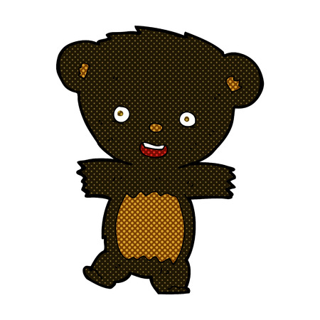 bear cub: retro comic book style cartoon teddy black bear cub