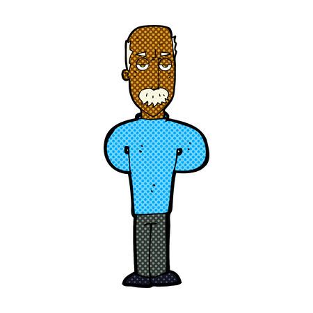 balding: retro comic book style cartoon annoyed balding man