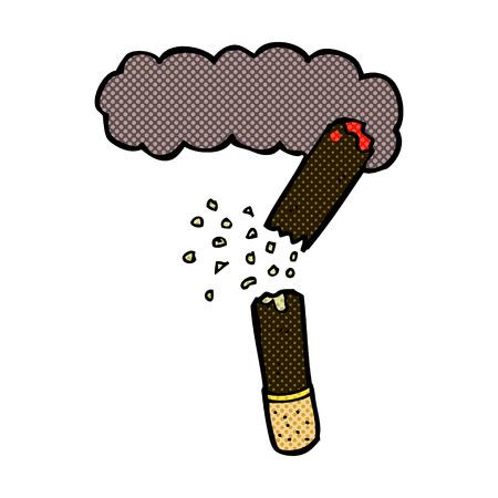 cigar: retro comic book style cartoon broken cigar