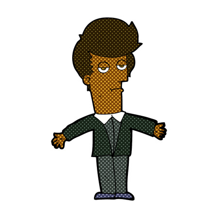 jaded: retro comic book style cartoon bored man Illustration