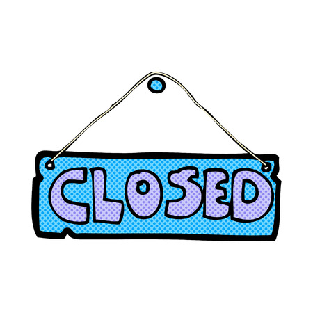 hand sign: retro comic book style cartoon closed shop sign