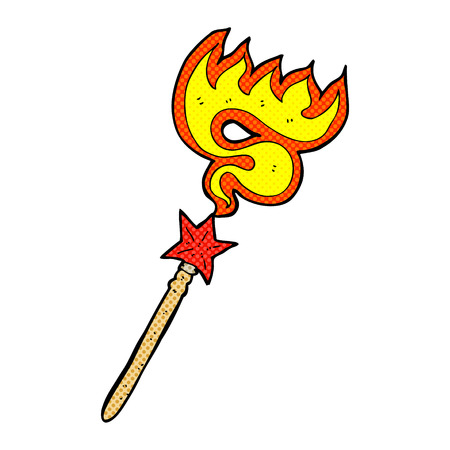 casting: retro comic book style cartoon magic wand casting fire spell Illustration