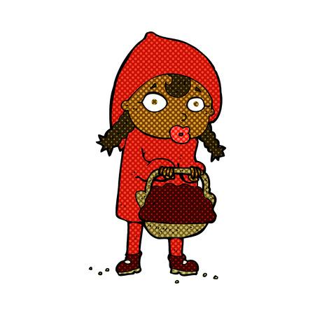 little red riding hood: Cappuccetto Rosso retro fumetti stile cartoon