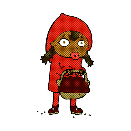 cartoon little red riding hood: little red riding hood retro comic book style cartoon Illustration