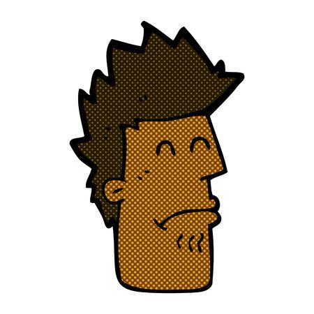 retro comic book style cartoon man feeling sick Illustration