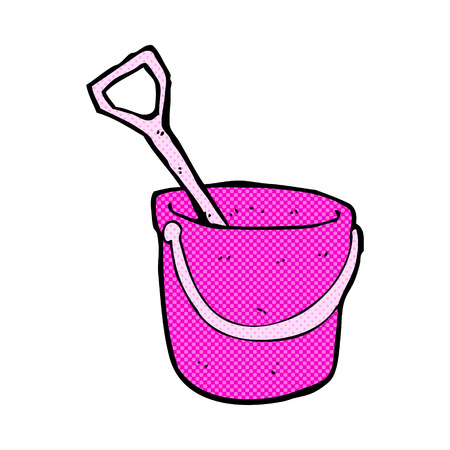 bucket and spade: retro comic book style cartoon bucket and spade Illustration