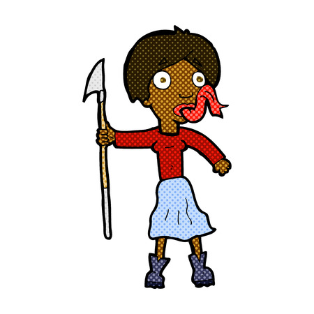 sticking: retro comic book style cartoon woman with spear sticking out tongue Illustration