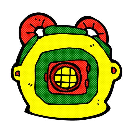 deep: retro comic book style cartoon deep sea diver helmet