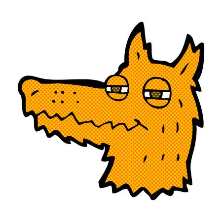 fox face: de dibujos animados retro del estilo del c�mic cara de zorro presumida