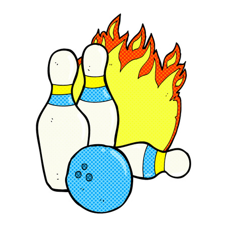 ten pin bowling: ten pin bowling retro comic book style cartoon