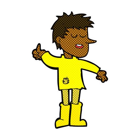 positive attitude: retro comic book style cartoon poor boy with positive attitude Illustration