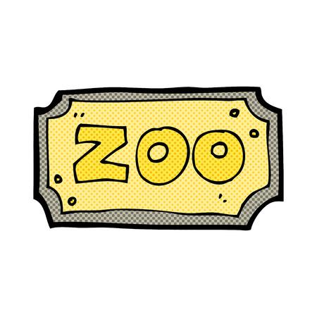 cartoon zoo: retro comic book style cartoon zoo sign Illustration