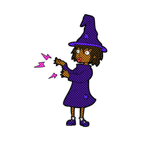 casting: retro comic book style cartoon witch casting spell