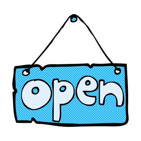 retro comic book style cartoon open shop sign