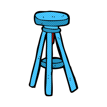 retro comic book style cartoon stool