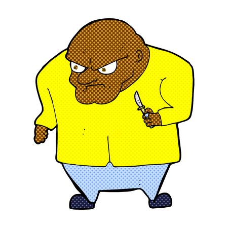 thug: retro comic book style cartoon evil man Illustration