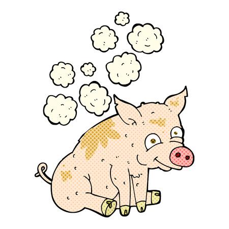 stinky: retro comic book style cartoon smelly pig Illustration