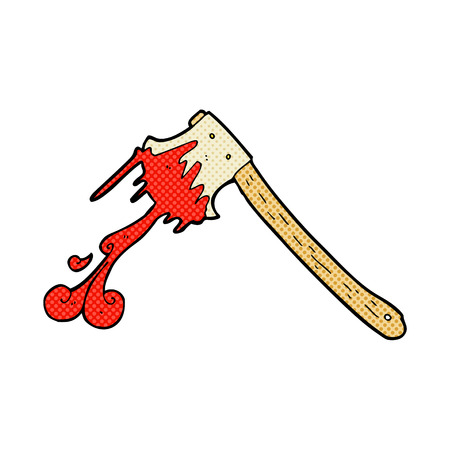 bloody hand print: retro comic book style cartoon bloody axe Illustration