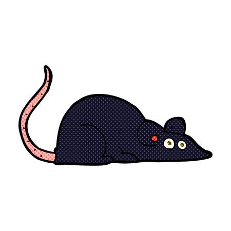 cartoon rat: retro comic book style cartoon black rat