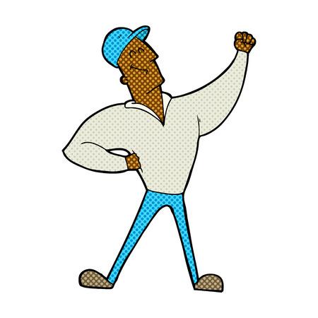 heroic: retro comic book style cartoon man striking heroic pose