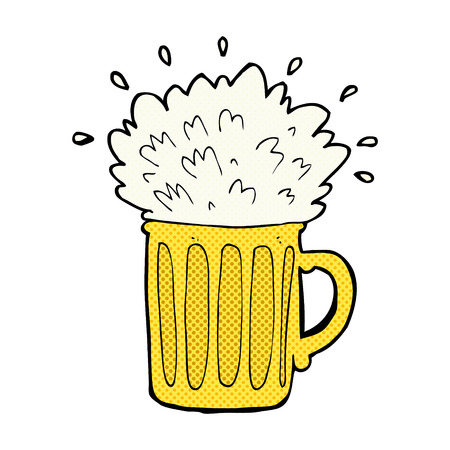frothy: retro comic book style cartoon frothy beer Illustration