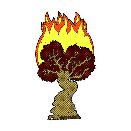 gnarled: retro comic book style cartoon burning tree Illustration