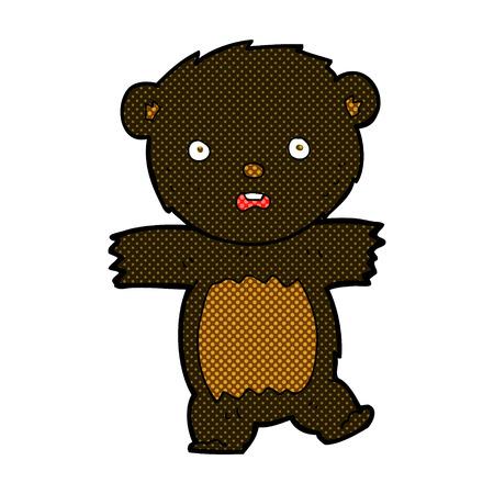bear cub: retro comic book style cartoon shocked black bear cub