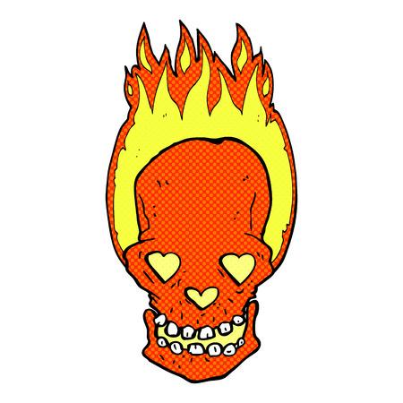 flaming heart: retro comic book style cartoon flaming skull with love heart eyes Illustration