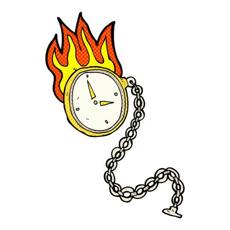 burning time: retro comic book style cartoon flaming watch