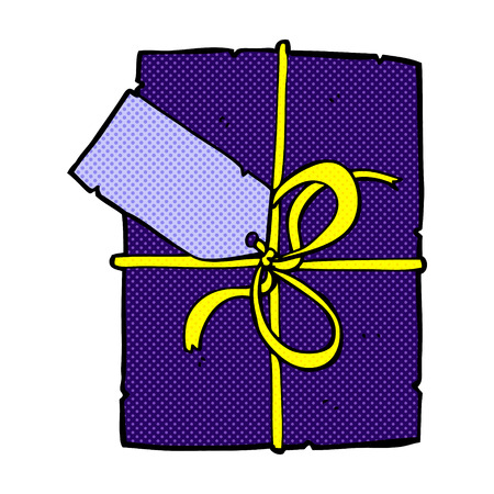 wrapped present: retro comic book style cartoon wrapped present Illustration