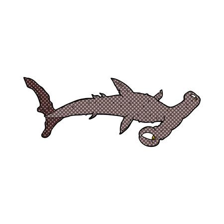 pez martillo: retro estilo del c�mic tibur�n martillo de dibujos animados Vectores