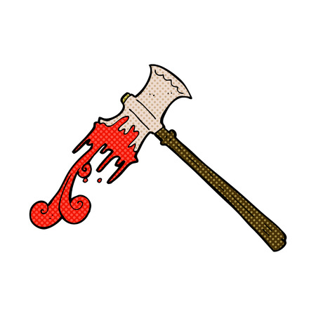 bloody hand print: retro comic book style cartoon slayer axe Illustration